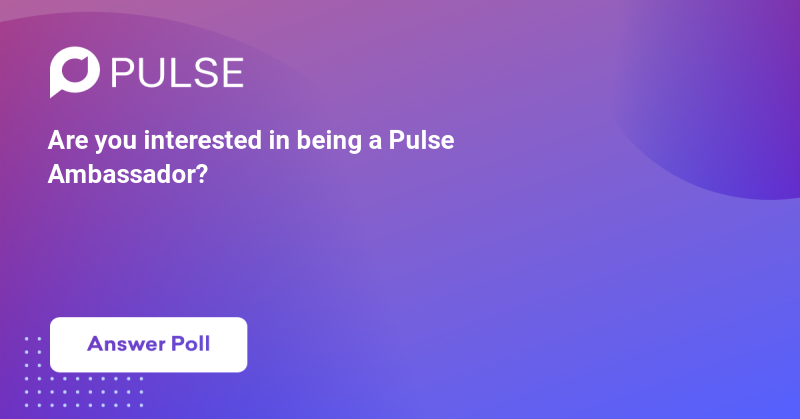 Are you interested in being a Pulse Ambassador? Pulse is looking for ambassadors to lead local chapters around the globe. Let us know if you are interested and we can send more information!