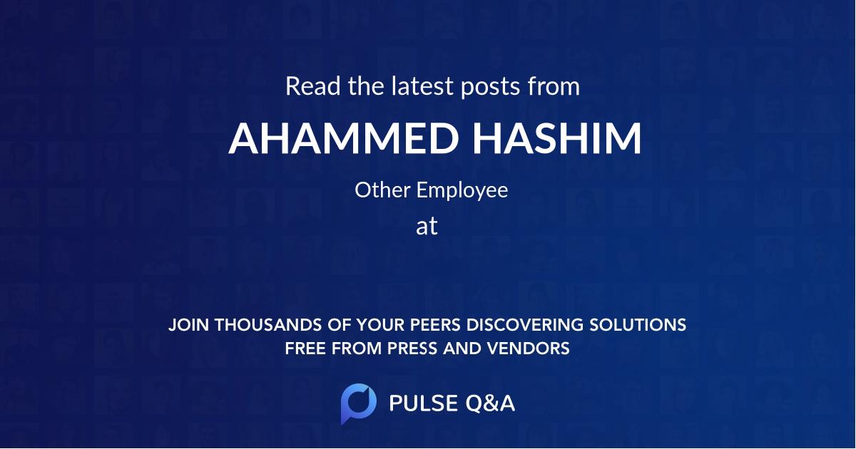 AHAMMED HASHIM