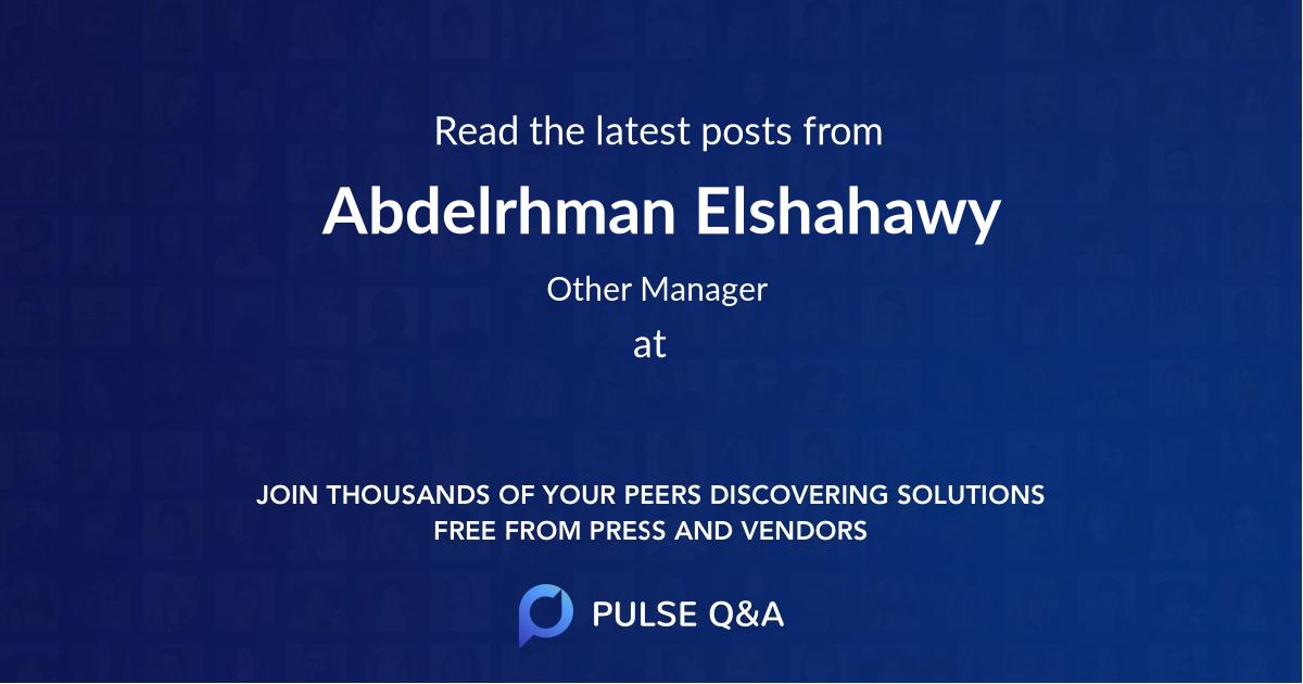 Abdelrhman Elshahawy