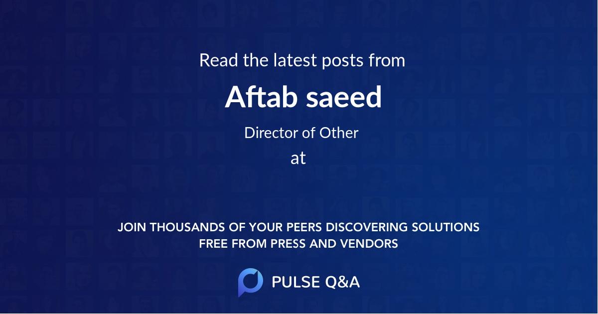 Aftab saeed