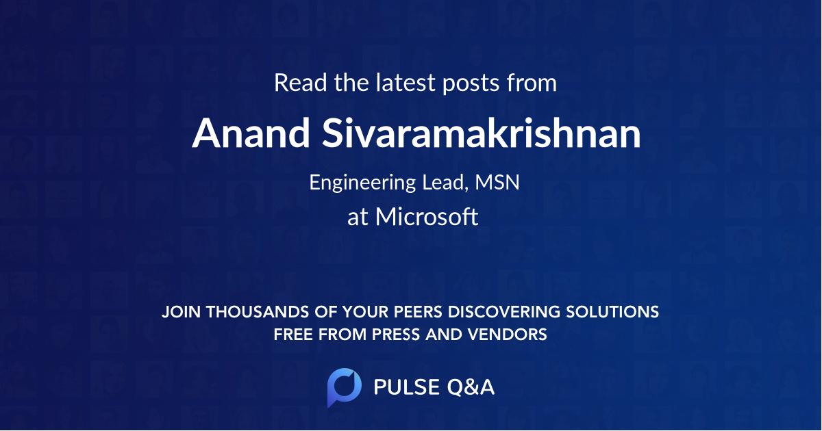 Anand Sivaramakrishnan