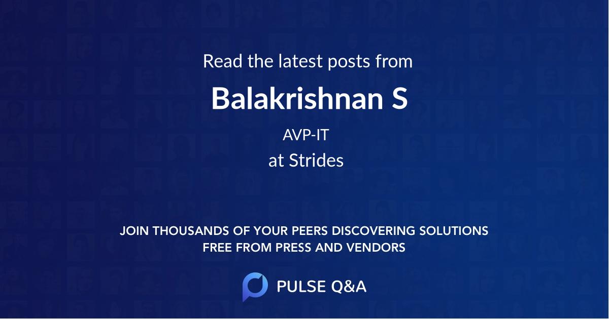 Balakrishnan S