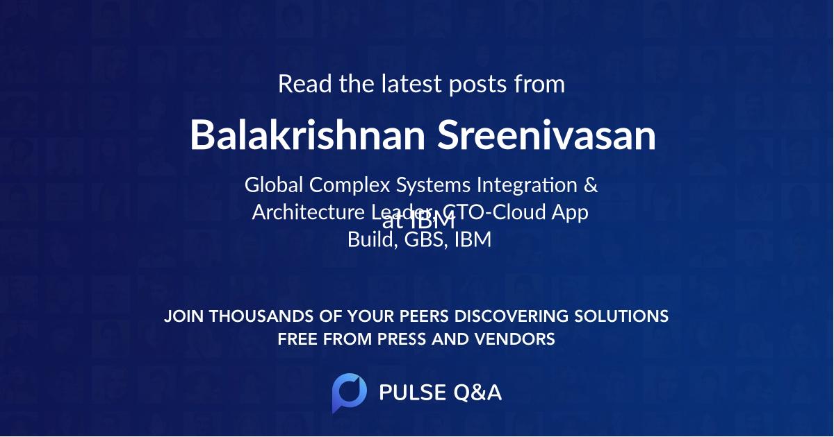 Balakrishnan Sreenivasan