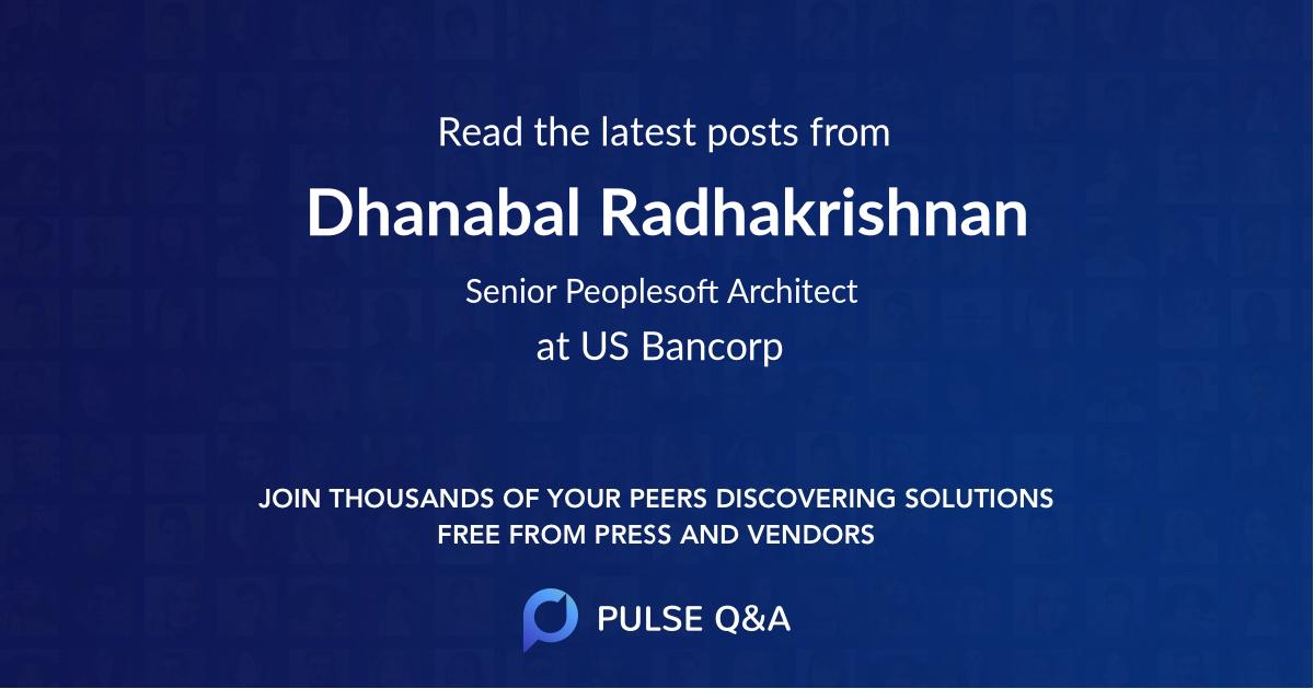 Dhanabal Radhakrishnan
