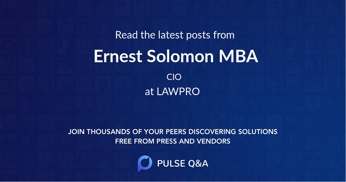 Ernest Solomon MBA