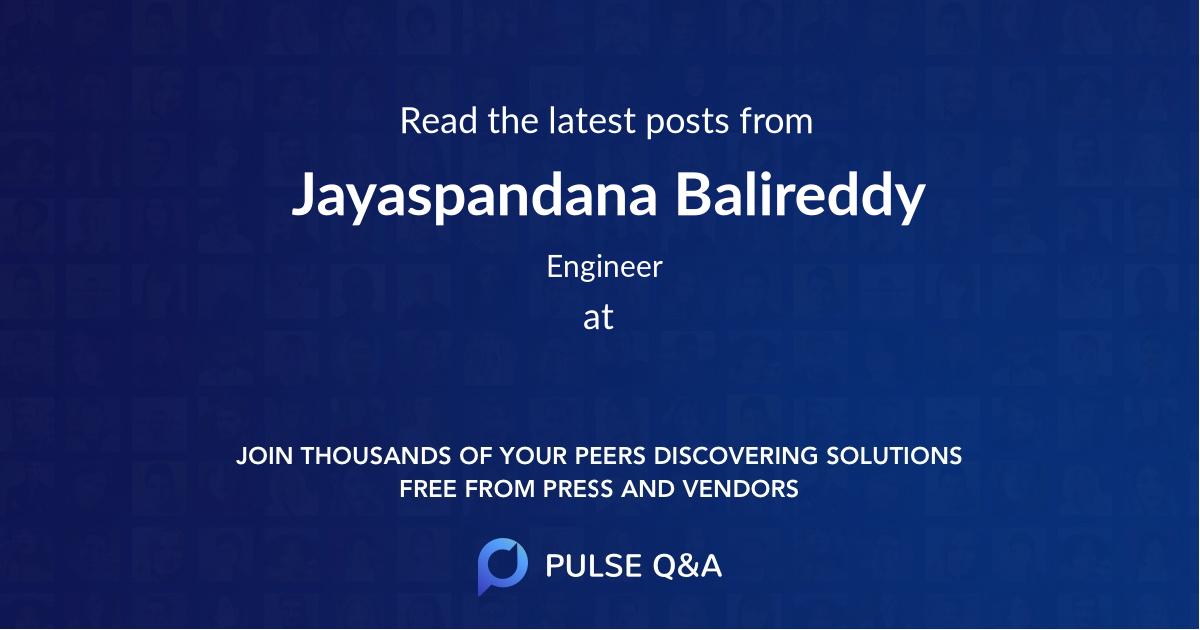 Jayaspandana Balireddy