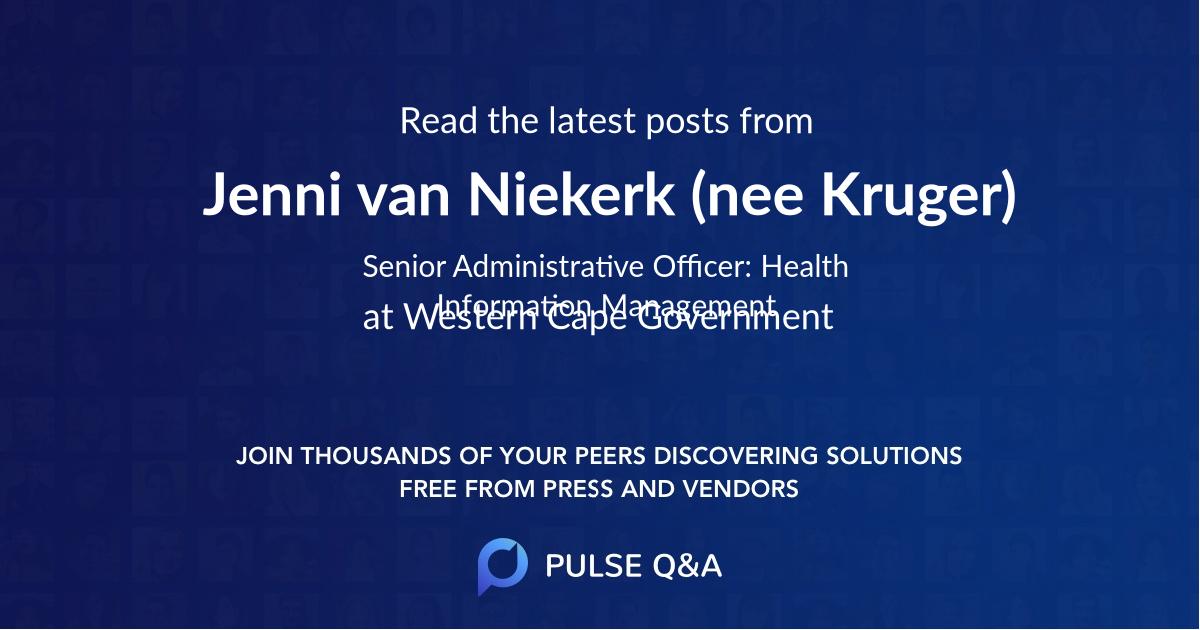 Jenni van Niekerk (nee Kruger)