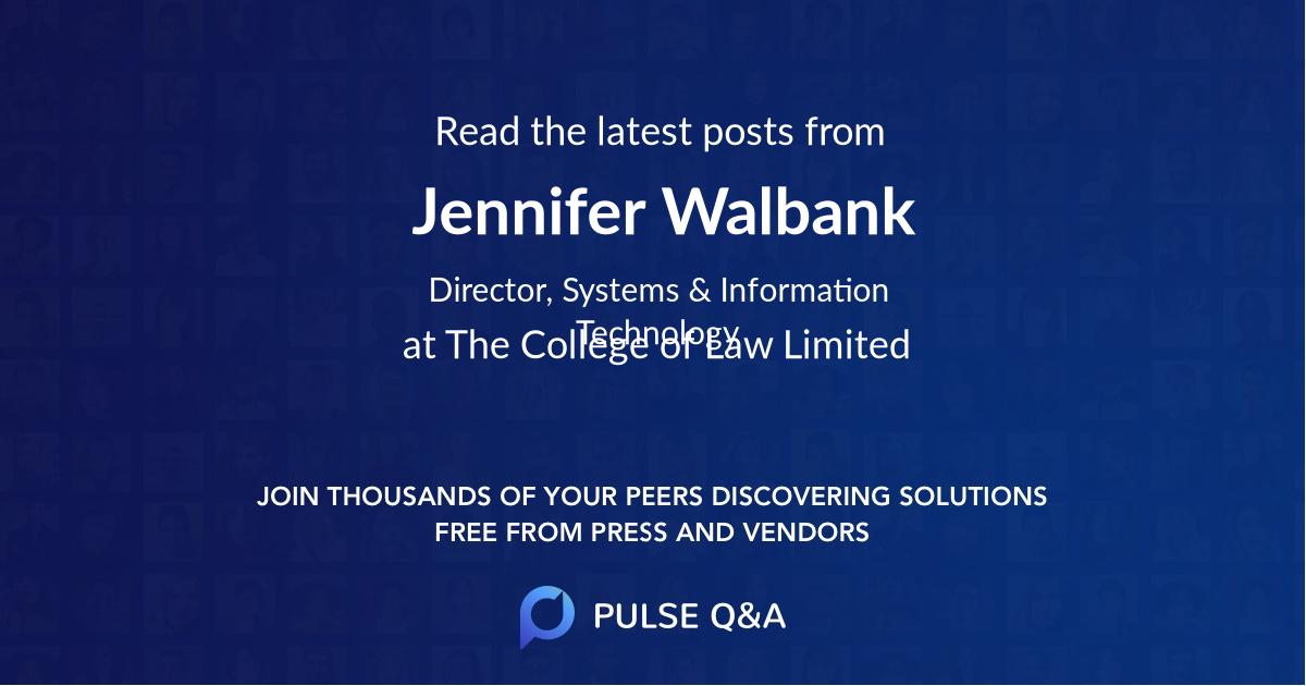 Jennifer Walbank