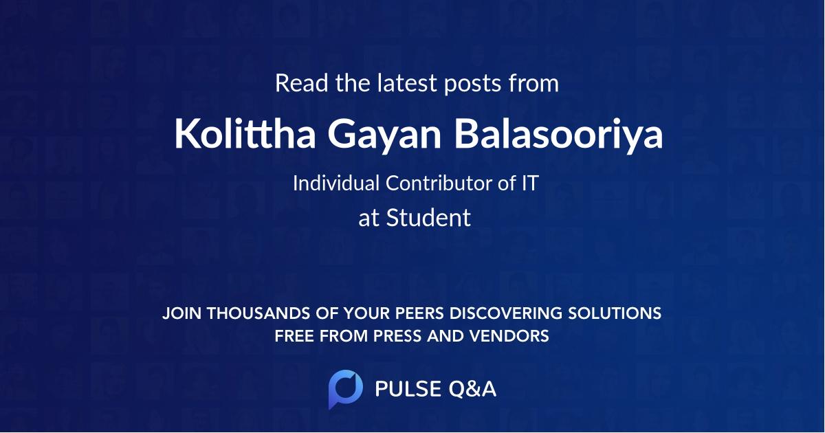 Kolittha Gayan Balasooriya
