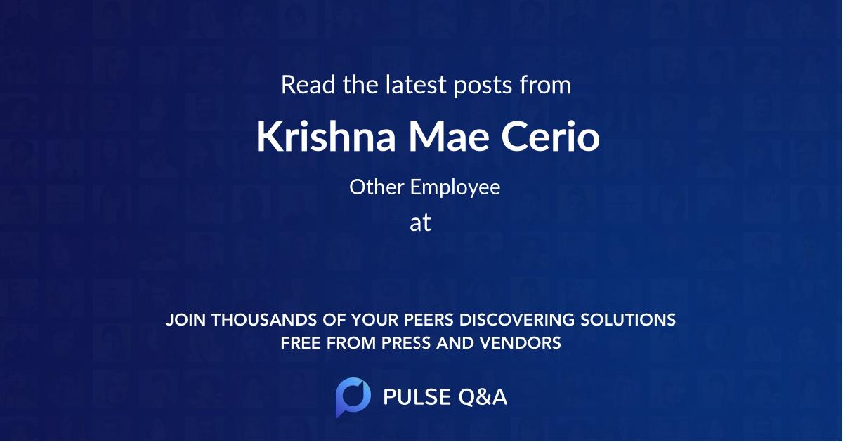 Krishna Mae Cerio