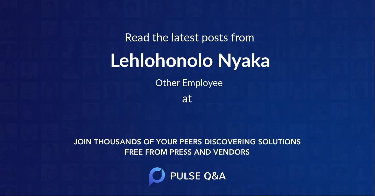 Lehlohonolo Nyaka
