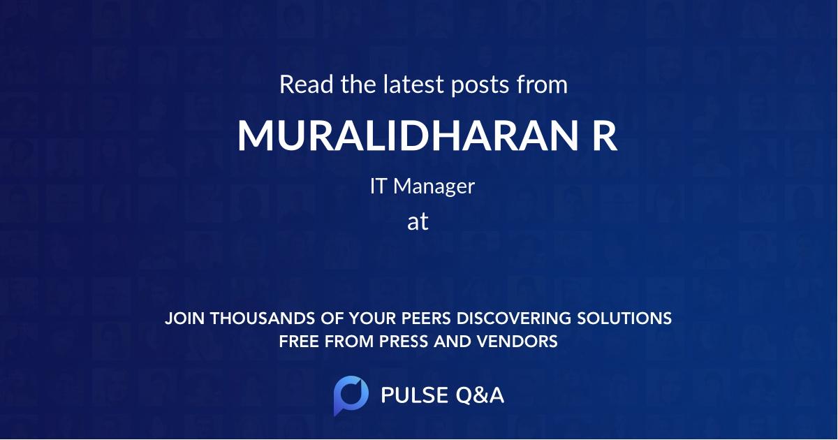 MURALIDHARAN R