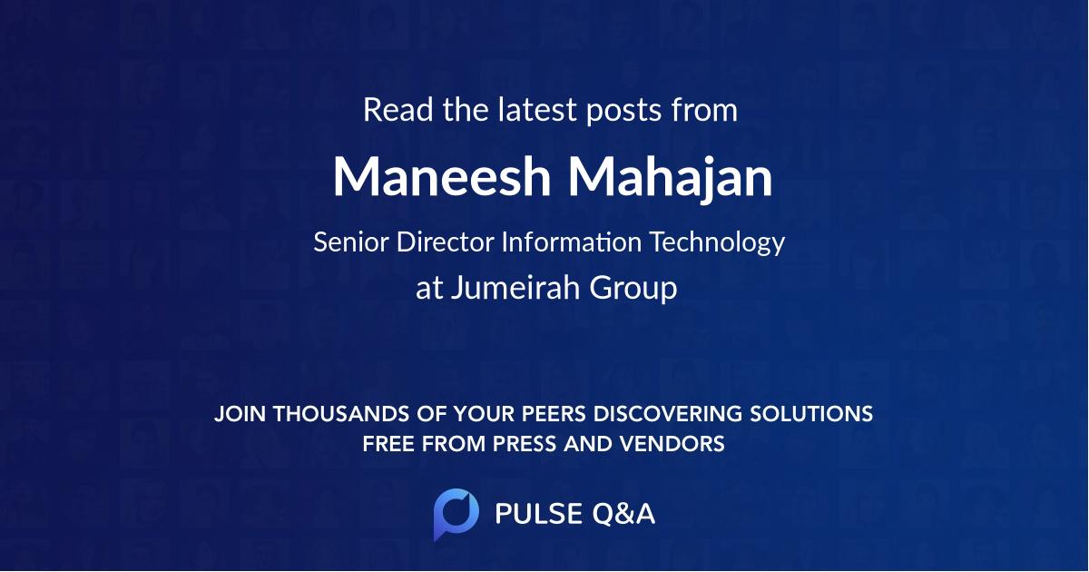 Maneesh Mahajan