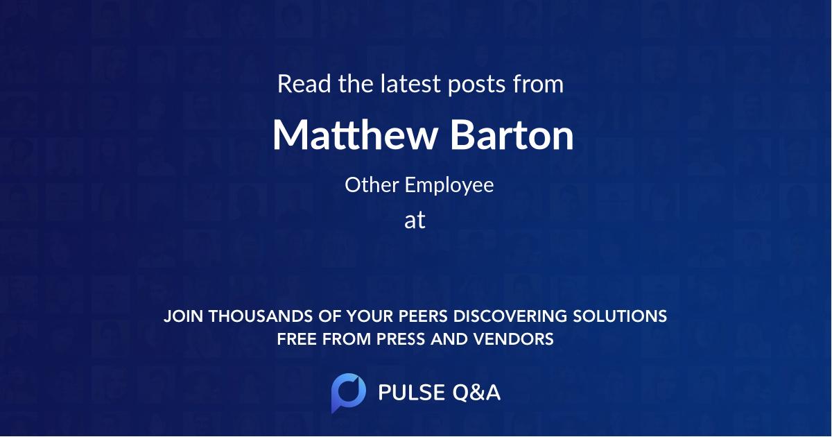 Matthew Barton
