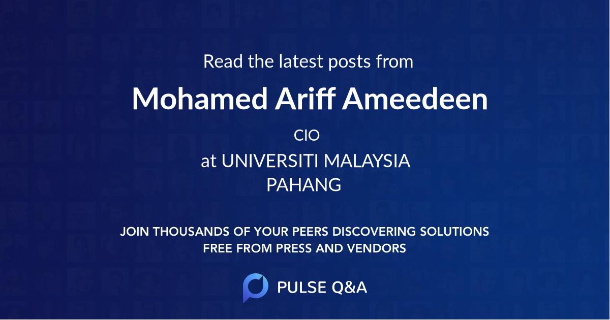 Mohamed Ariff Ameedeen