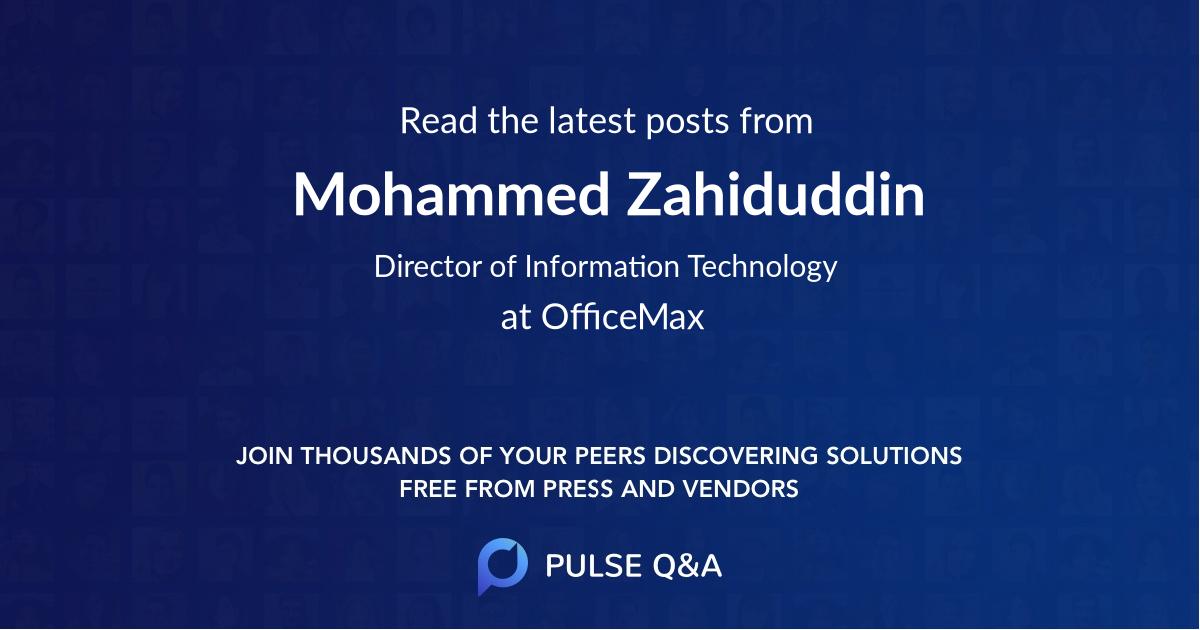 Mohammed Zahiduddin