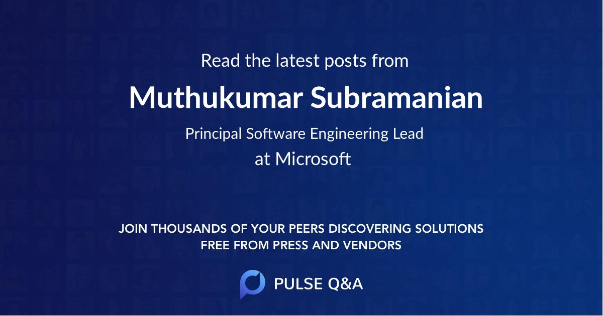Muthukumar Subramanian