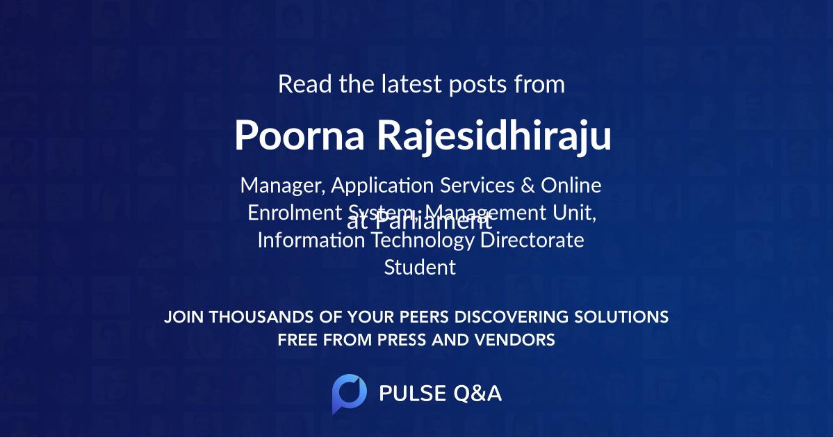 Poorna Rajesidhiraju