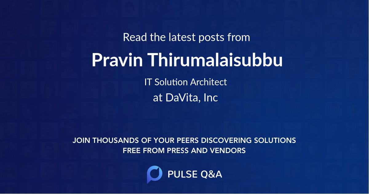 Pravin Thirumalaisubbu