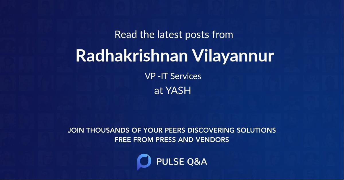 Radhakrishnan Vilayannur