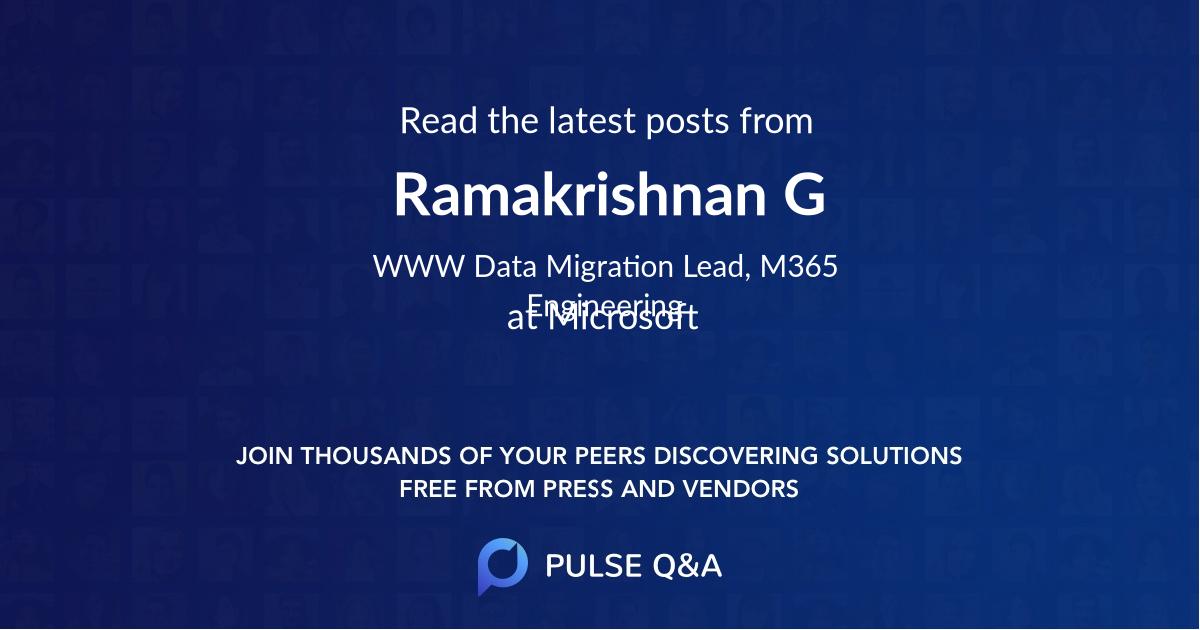 Ramakrishnan G