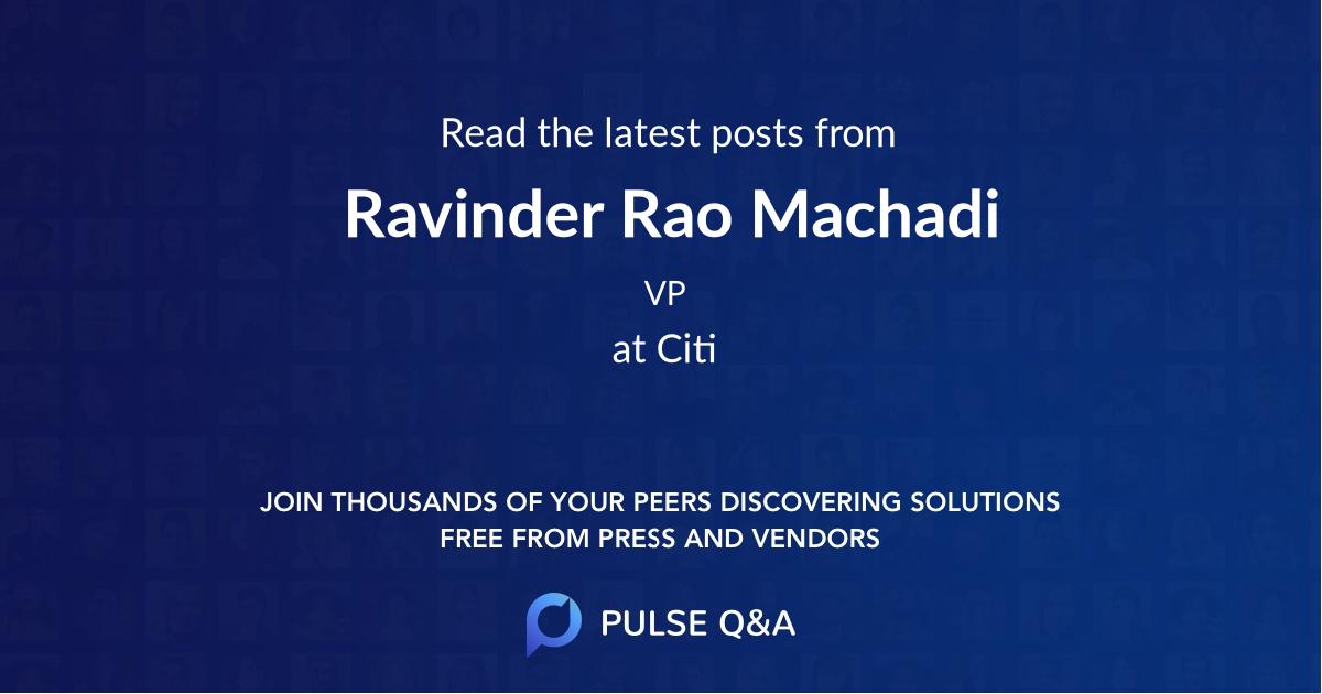 Ravinder Rao Machadi