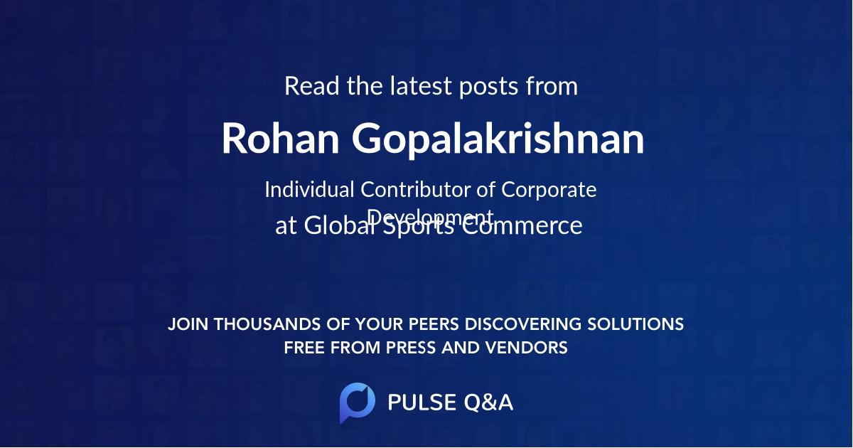 Rohan Gopalakrishnan
