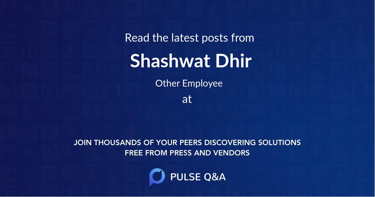 Shashwat Dhir