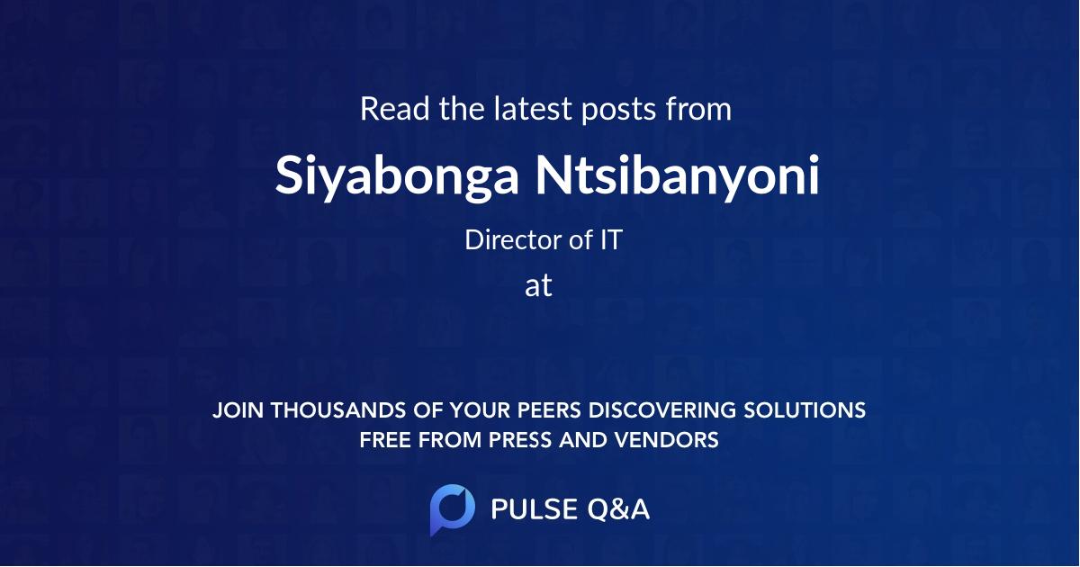 Siyabonga Ntsibanyoni