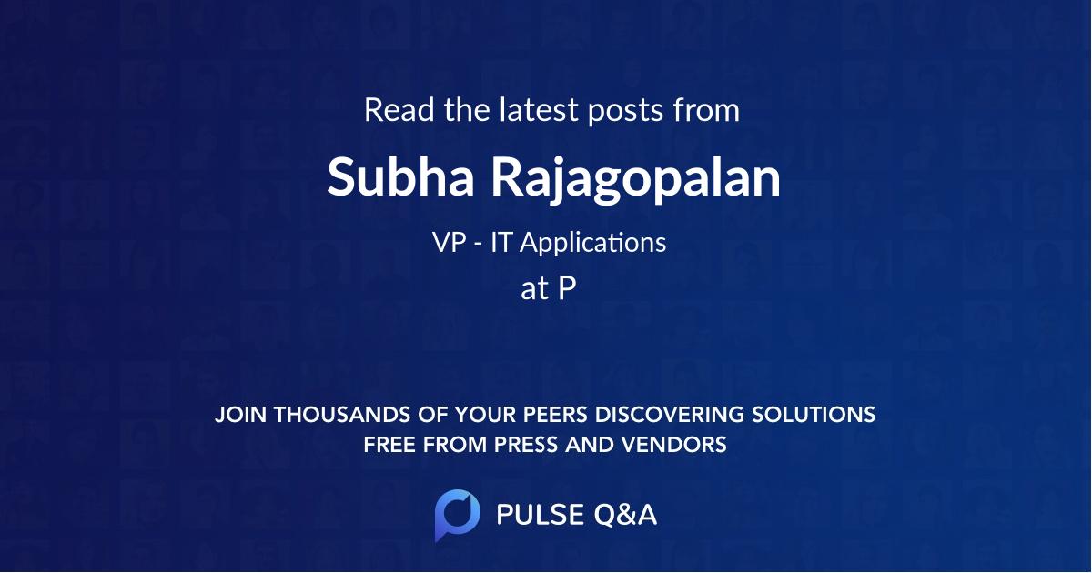 Subha Rajagopalan