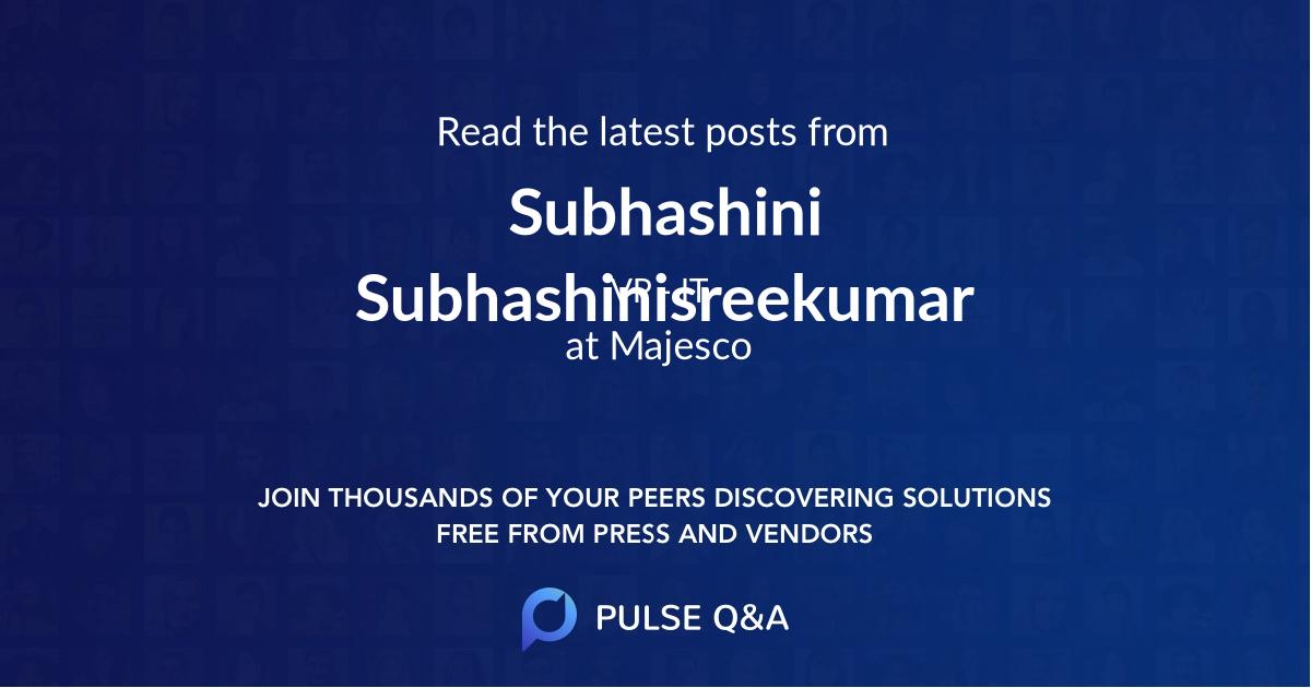 Subhashini Subhashinisreekumar
