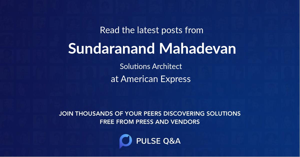 Sundaranand Mahadevan