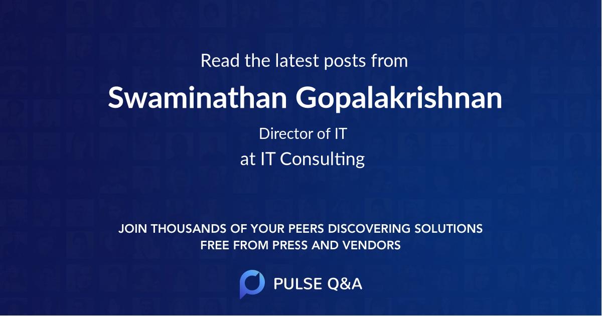 Swaminathan Gopalakrishnan