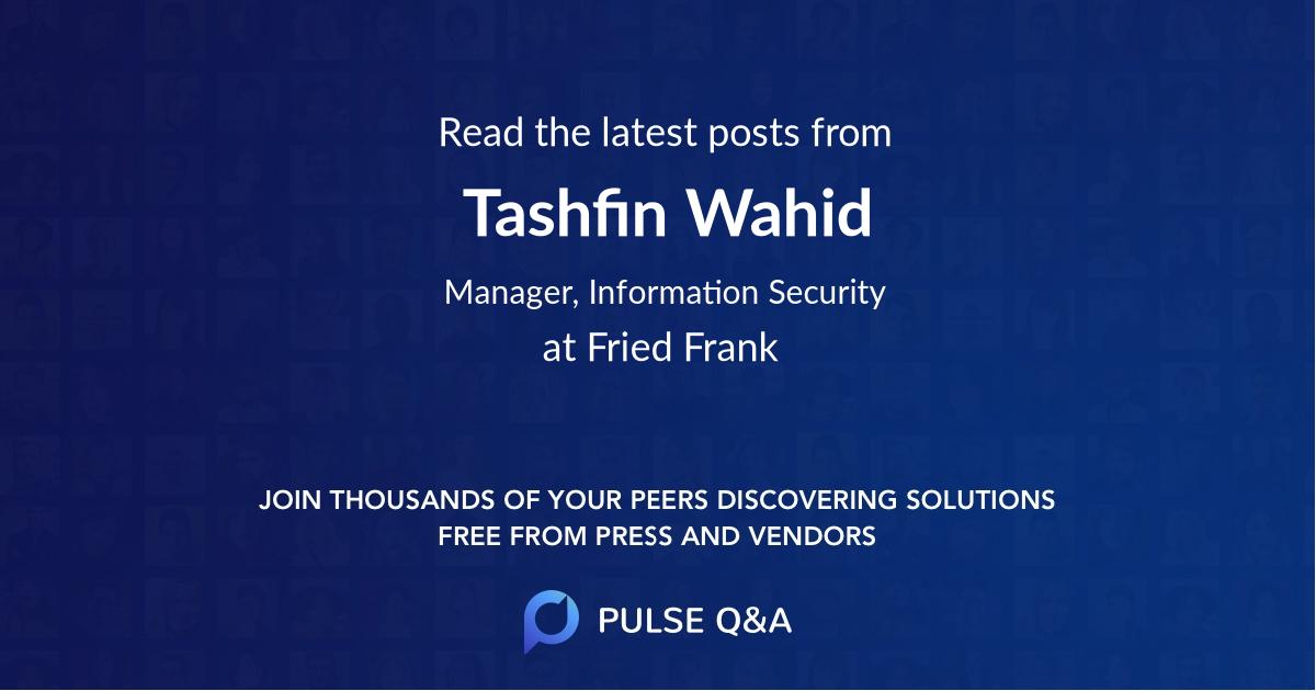 Tashfin Wahid