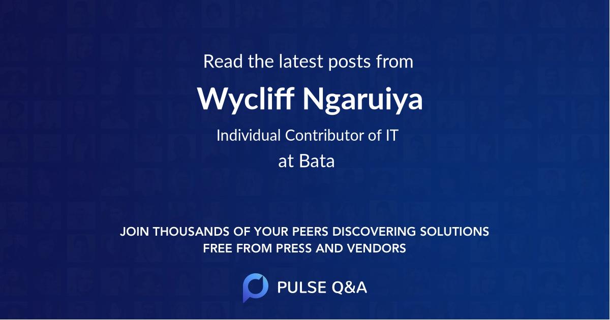 Wycliff Ngaruiya