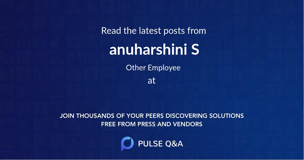 anuharshini S