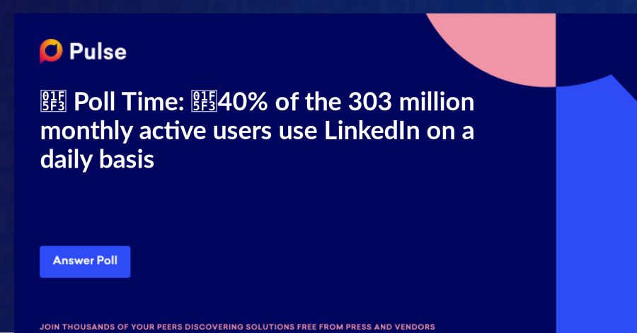 🗳️ Poll Time: 🗳️   40% of the 303 million monthly active users use LinkedIn on a daily basis. This seems quite high, doesn't it?   I am curious how often YOU are using it.   PS: Would love to know in the comments what the reason is you come to LinkedIn daily/weekly.