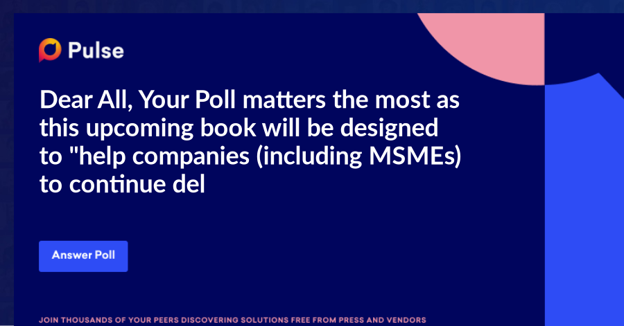 """Dear All,    Your Poll matters the most as this upcoming book will be designed to """"help companies (including MSMEs) to continue delivering High Quality and Productivity for their customers while maintaining their employees safety in tough times like in COVID-19 situation"""".    In this book we will bring interviews with the leaders who are already making a difference in their respective companies by not only taking care of their employees but also their customers and every other stakeholders and delivering consistent Quality and Productivity as well as business growth in these challenging times.    This will be my third international book after having achieve two best selling international book titles """"Risk Mitigated in World's Most amazing projects"""" and """"Strategically MODIfying India to TRUMP ahead"""" in digital format as well as hard cover format at amazon dot com and amazon dot in.    Below are the proposed titles to choose from  1) Why TOUGH TIMES NEVER LAST?  2) SURVIVE and THRIVE in TOUGH TIMES  3) SAFETY FIRST to THRIVE Next"""