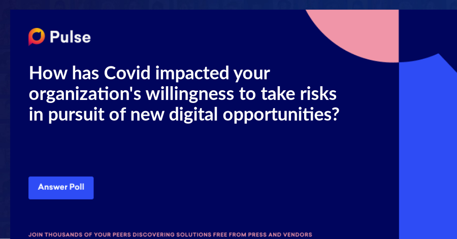 How has Covid impacted your organization's willingness to take risks in pursuit of new digital opportunities?