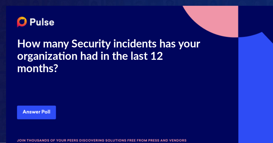 How many Security incidents hasyour organization had in the last 12 months?
