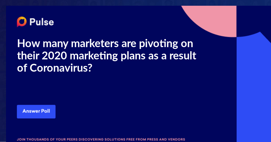How many marketers are pivoting on their 2020 marketing plans as a result of Coronavirus?