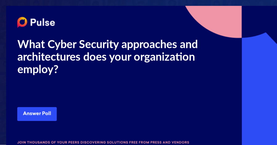 What Cyber Security approaches and architectures does your organization employ?