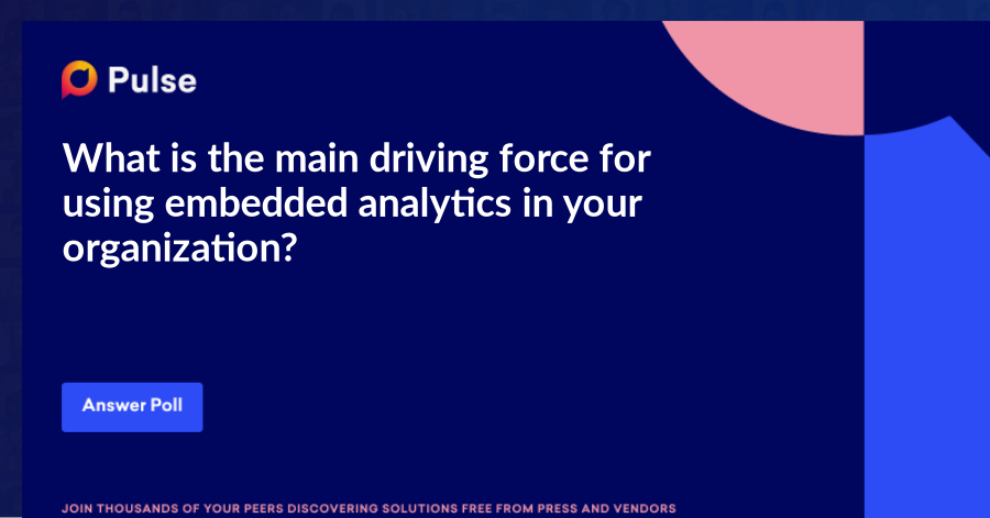 What is the main driving force for using embedded analytics in your organization?