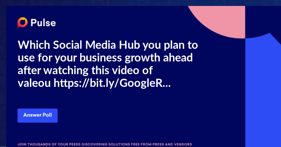 Which Social Media Hub you plan to use for your business growth ahead after watching this video of valeouhttps://bit.ly/GoogleRANK1?