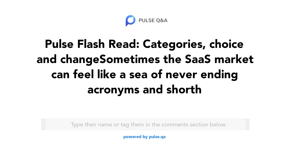 Pulse Flash Read: Categories, choice and change Sometimes